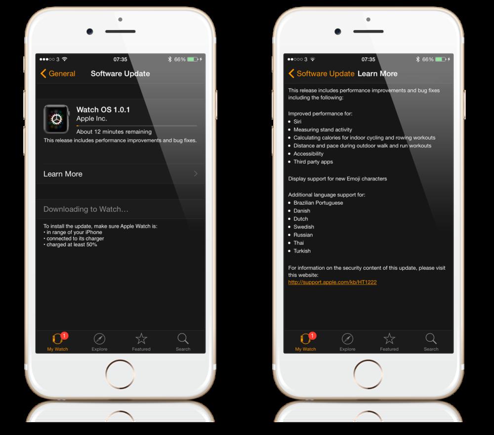 Apple Watch OS update - iPhone screen